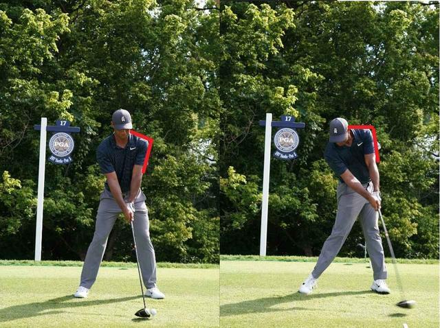 画像: 画像1。アドレス時(左)に比べ、インパクトでは左肩と左腕が作る角度が大きくなる(写真/姉崎正)