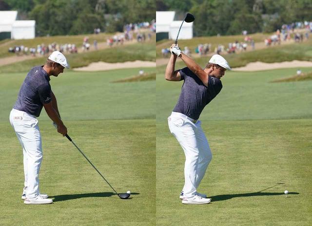 画像: 腕の運動量は少ないが、体の運動量は多い。背中はターゲット方向をしっかりと向いている(写真は2018年の全英オープン 撮影/服部謙二郎)
