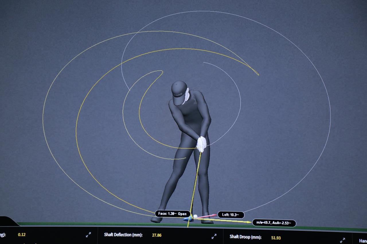 画像: 「ギアーズ」の画面。スウィング中の体とクラブの動きを、3Dで解析することが可能だ