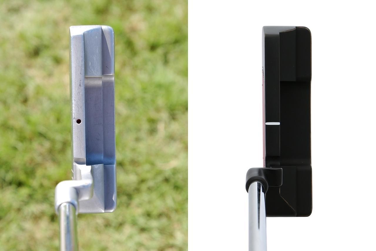 画像: タイガーのエースパター「スコッティ・キャメロン ニューポート2」(写真左2004年のメルセデスチャンピオンシップ)と「ジュノ」(写真右)を並べてみると、非常によく似ていることがわかる