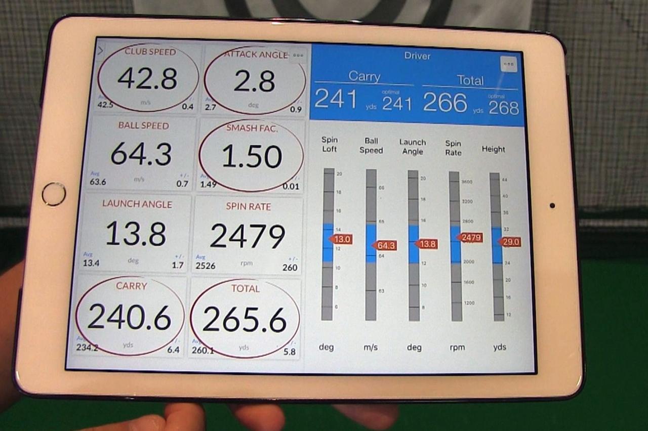画像: トラックマンの計測結果。ヘッドスピードは約43メートル/秒ながら、ミート率が高く、キャリーで240.6ヤード、トータル265.6ヤード(!)飛ばしている