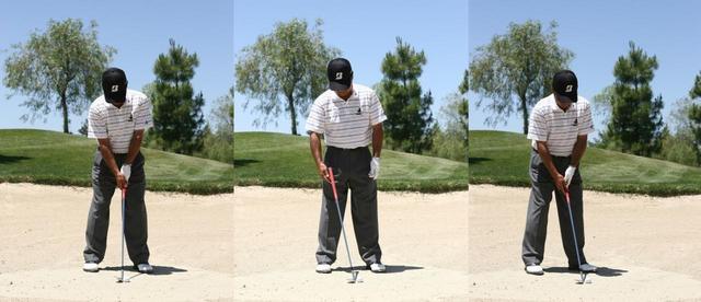 画像: まずフルショットの構えを作る(写真左)ヘッドの位置とフェース向きを変えずにロフトだけ増やすようにシャフトを傾ける(写真中)ボールを中心に右に回り込んで目標の左を向いて構える(写真右)