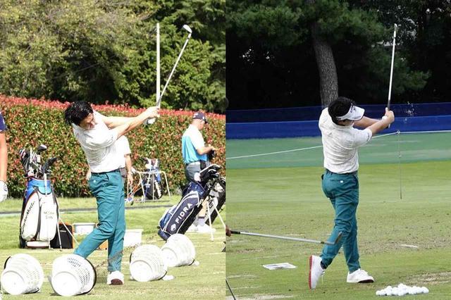 画像: 朝(左)と夕方(右)の練習の比較。フォローでのフェース向きに注目すると、夕方の方がフェースターンを抑えていることがわかる