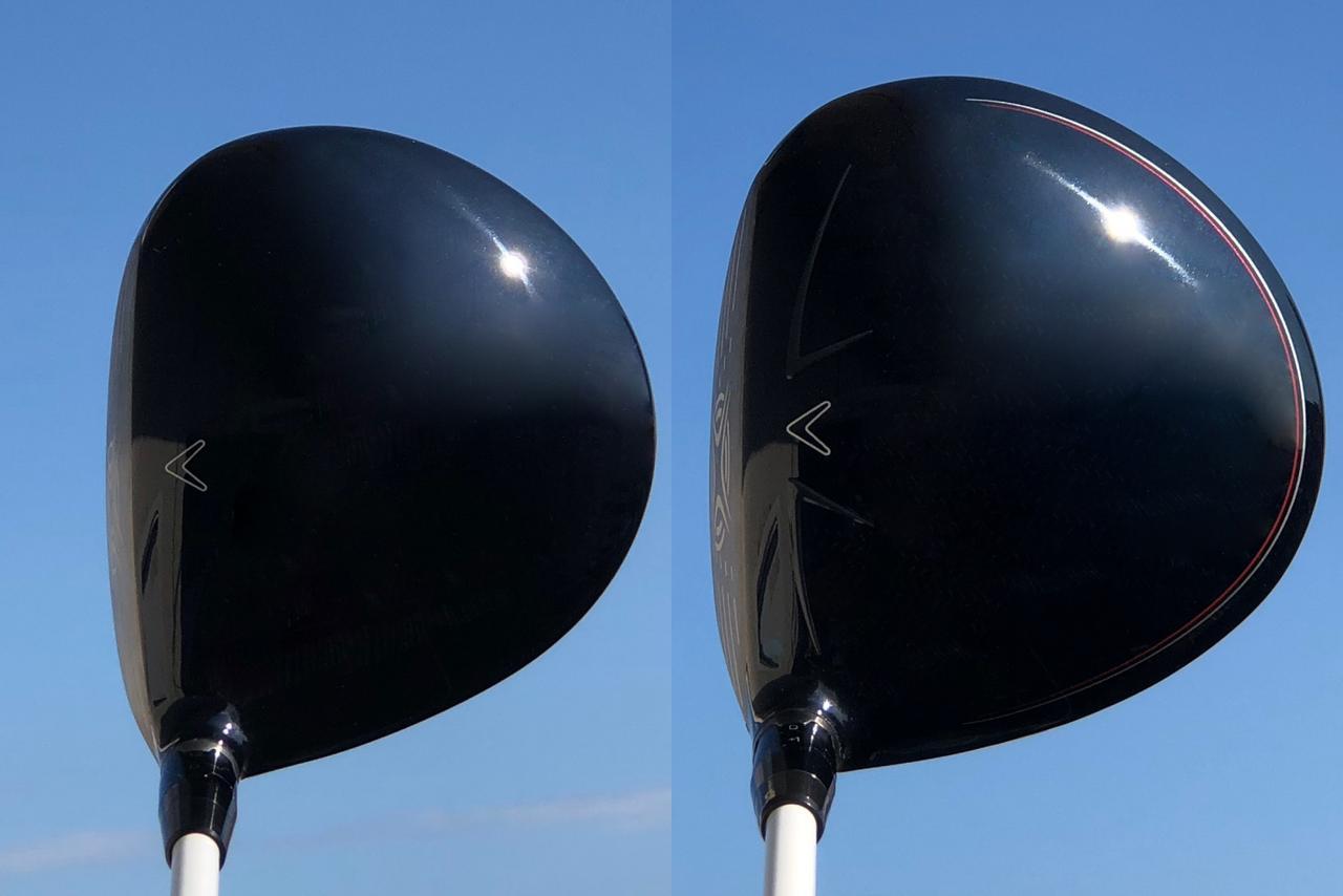 """画像: 左が松山が使用したグレートビッグバーサ。右が新たに手にしたXRスピード。""""ぽっちゃり系""""な分一回り大きく見えるが、構えた印象は「品がある」(筆者)とのこと"""