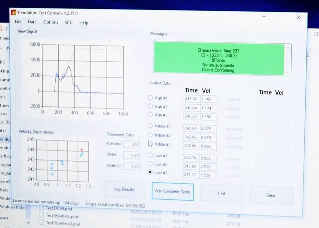 画像: 表示されている「237」は接触時間が100万分の237秒を表し反発規制以内を表している(写真3)