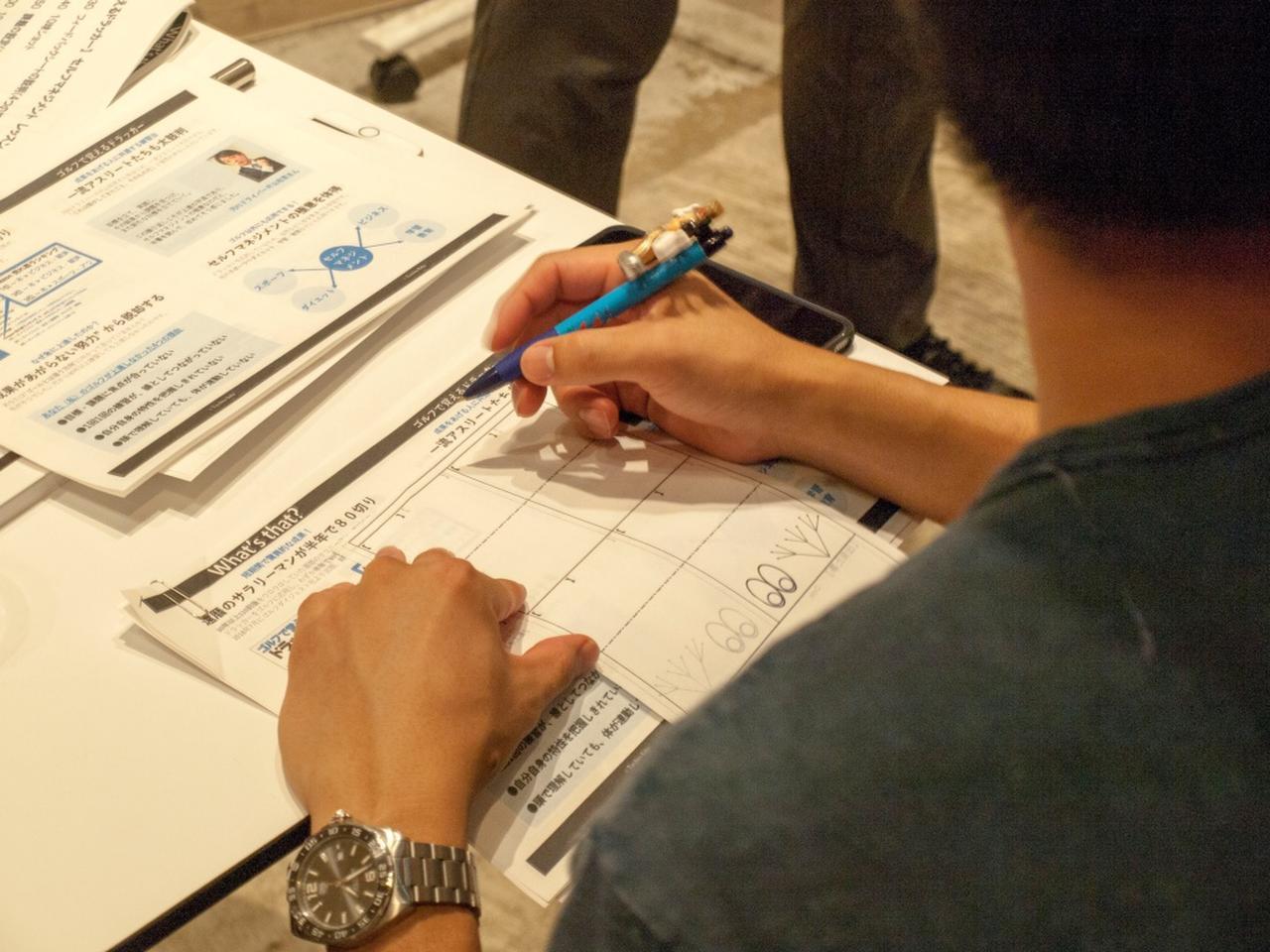 画像: 受講者が記入しているのはゴルフ・マネジメント学習法の要である「フィードバック手帳」。これに記入することで、自分の現状や課題を把握できる