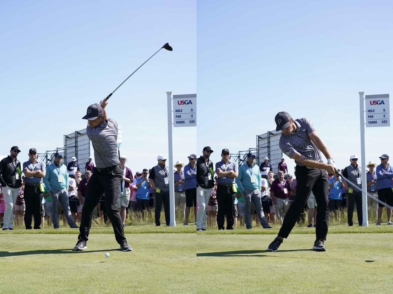 画像: 左肩を軸にしてスウィングするデシャンボー(写真は2018年の全米オープン 撮影/服部謙二郎)