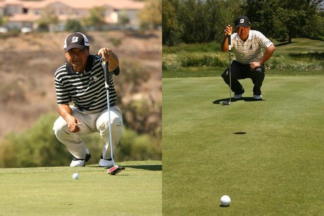 画像: 上りはボールの後ろから、下りはカップの後ろから傾斜を読む