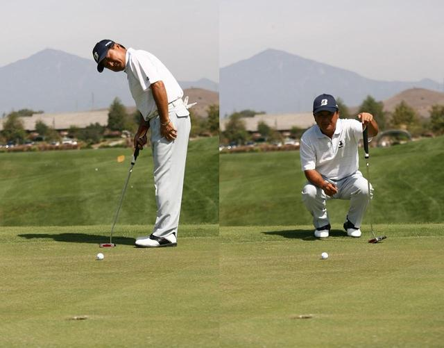 画像: アドレスした状態(左)よりもラインに正対したほう(右)が傾斜を正確に読める