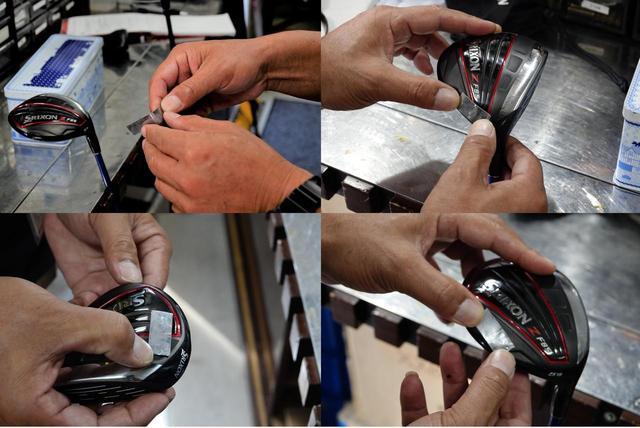 画像: 1グラムの鉛1枚から試す(左上)、つかまり度合い向上するにはヒール寄りに貼る(右上)、引っかけ防止はトウ寄り(左下)、球を上げたければソール後方(右下)にそれぞれ貼ろう