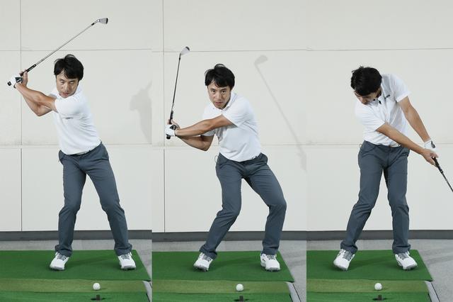 画像: 左の足首がまず回転することで、切り返しからインパクトまでの回転力があがる