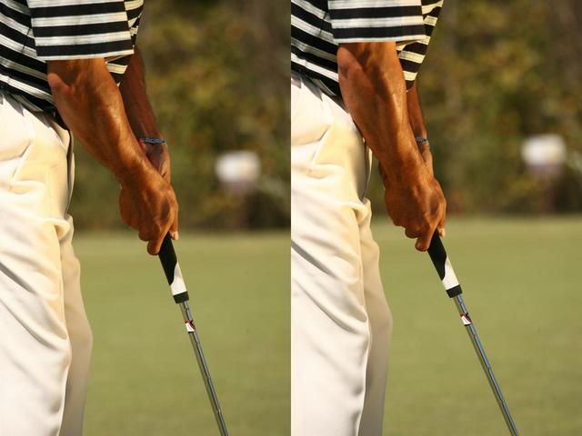画像: 引っかけたくないときにはわずかにハンドアップ(左)押し出したくないときにはハンドダウンする(右)