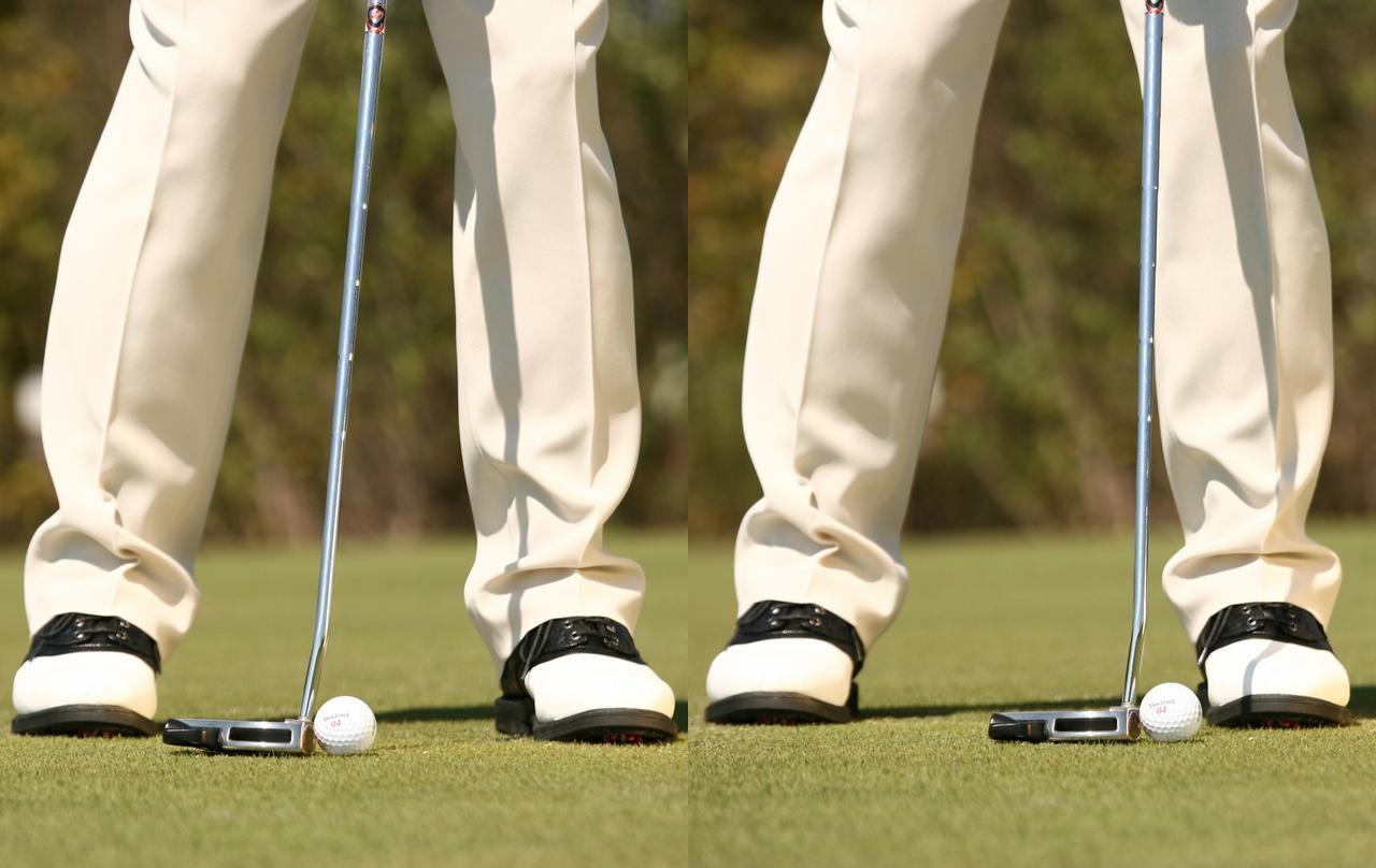 画像: 打ち過ぎたくないときはボールを少し右に置いて打つ(左)ショートしたくないときはボールを少し左に置いて打つ(右)