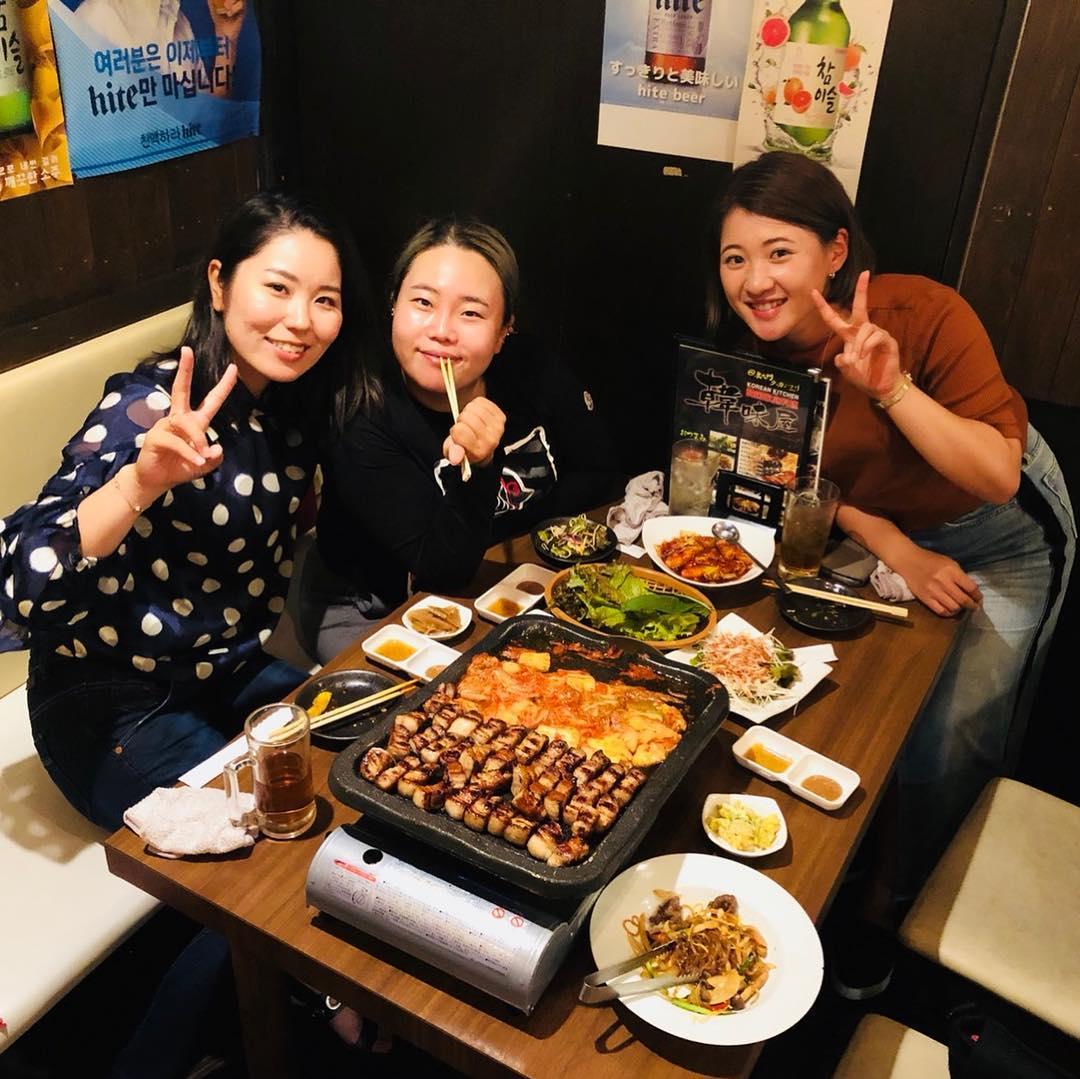 """画像1: 안선주(安ちゃん) on Instagram: """"너무너무 즐거운하루 밖에서 이렇게 선수들과 즐거운시간 보내는건 처음인데 행복한추억 고마워❤️ 本当に楽しかった!会場以外のとこでこんなに楽しいのは初めてまみちゃんとはかき氷からの夜はかなちゃんの一緒に韓国料理!本当に楽しすぎて幸せな1日だった…"""" www.instagram.com"""
