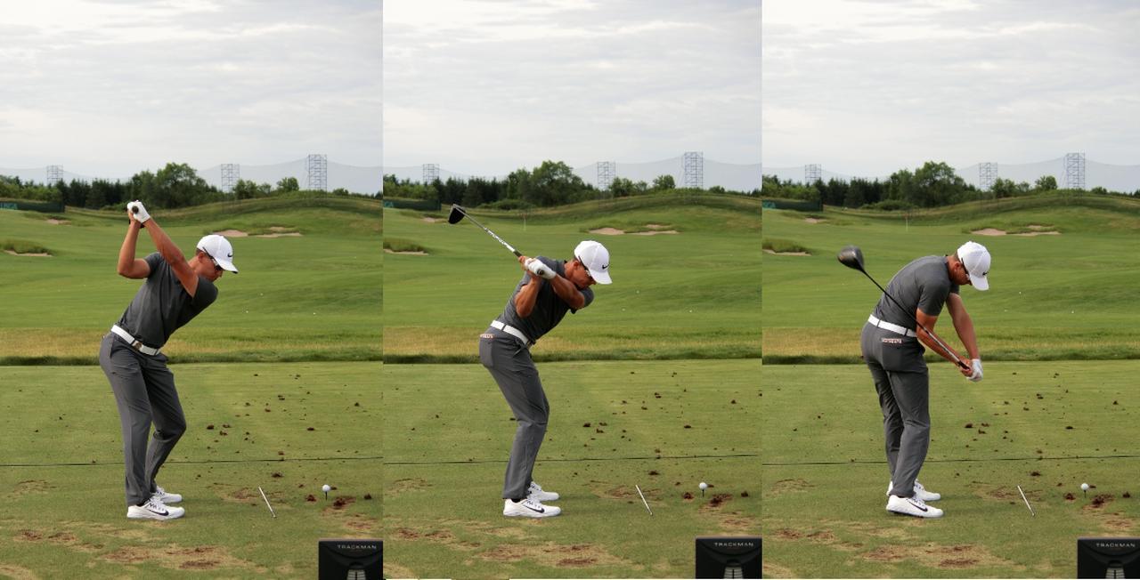画像: トップからの切り返しで背骨を中心とした回転でクラブが体に巻き付くようにダウンスウィングする(写真は2017年の全米オープンの練習場)