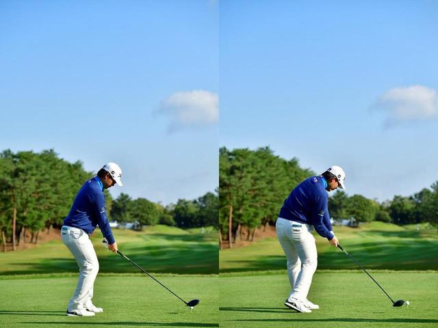 画像: アドレス(左)と比べると、インパクト(右)を腰を完全に開いた状態で作っているのがわかる(写真は2018年のマイナビABCチャンピオンズ 撮影/有原裕晶)