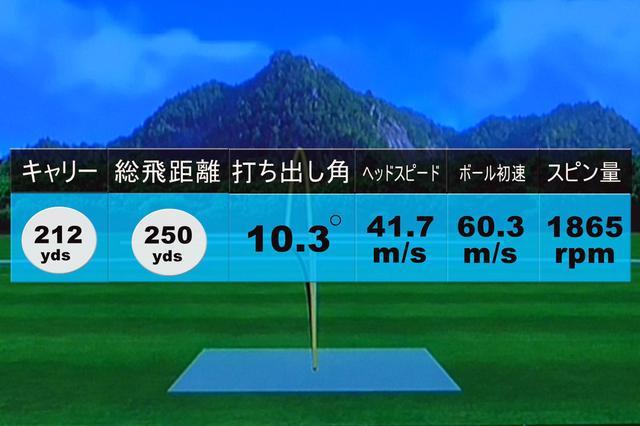 画像: 中村の試打データ。堀口の計測データとほぼ変わらない中弾道の低スピンライナードローのボール。