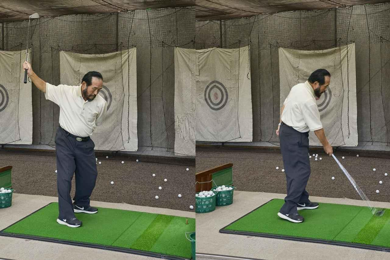 画像: 利き手ではない左手1本でボールを打つのは難しいが利き手の右手なら片手でボールを打つことはやさしい。右手主導が、テンフィンガースウィングの第一歩だ