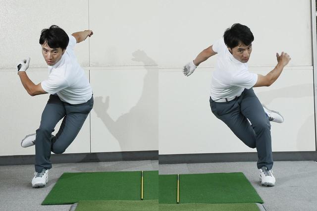 画像: スピードスケートの腕の振りの感覚が、ゴルフのスウィングにも必要だと原田
