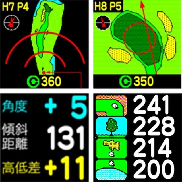 画像: 「コースレイアウト表示」「グリーンアタック」「高低差測定」「ハザード距離表示」などがワンタッチで確認できるのは嬉しい