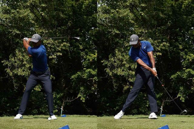画像: 左足を踏み込むことで左肩が上がり、右肩が下がる。シーソーをイメージするとわかりやすい(写真は2018年の全米プロゴルフ選手権 撮影/姉崎正)