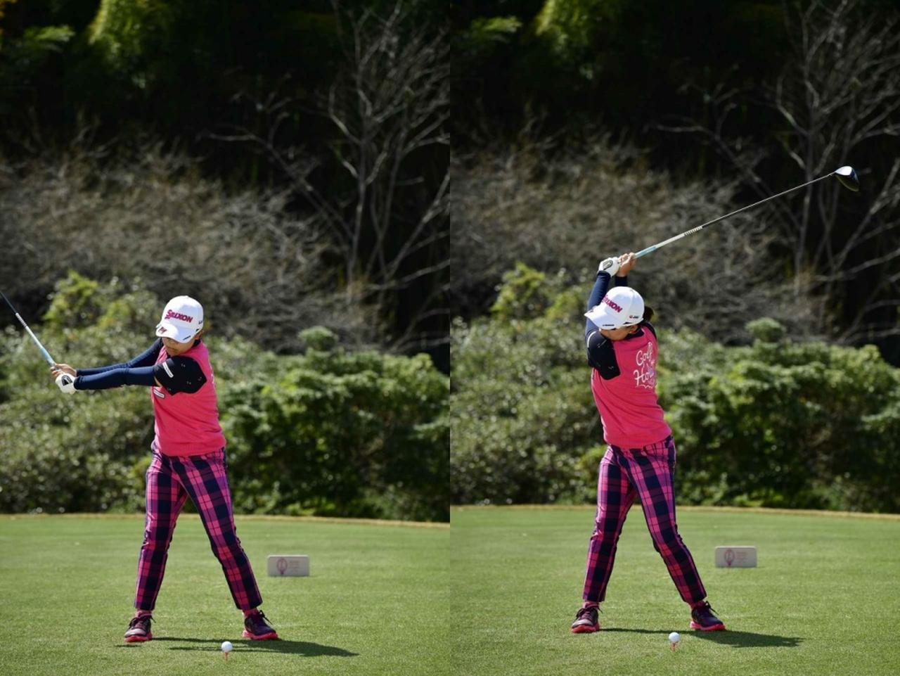 画像: 右の腰から始動し、硬いゴムをねじり上げるようにトップまで上がっているのがわかる(写真は2018年のヤマハレディースオープン)