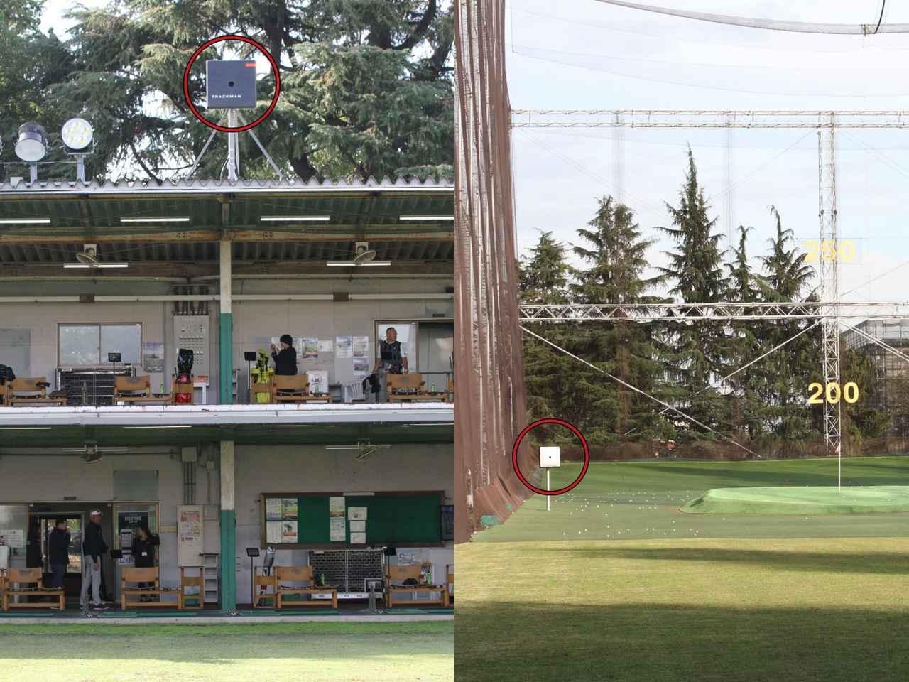 画像: 練習場の屋根の上とフィールド内に各1基レーダーが設置され、これで全打席をカバーしている