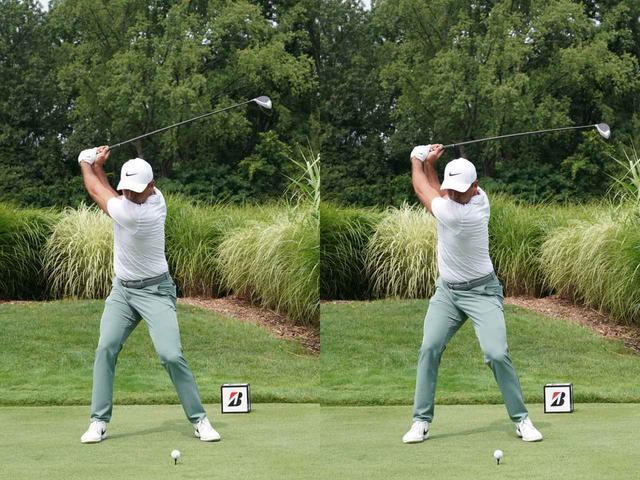 画像: 2枚の写真を見比べると、手の位置はほぼ同じ。このシャフトのしなりが飛距離に直結する(写真は2018年のブリヂストン招待)