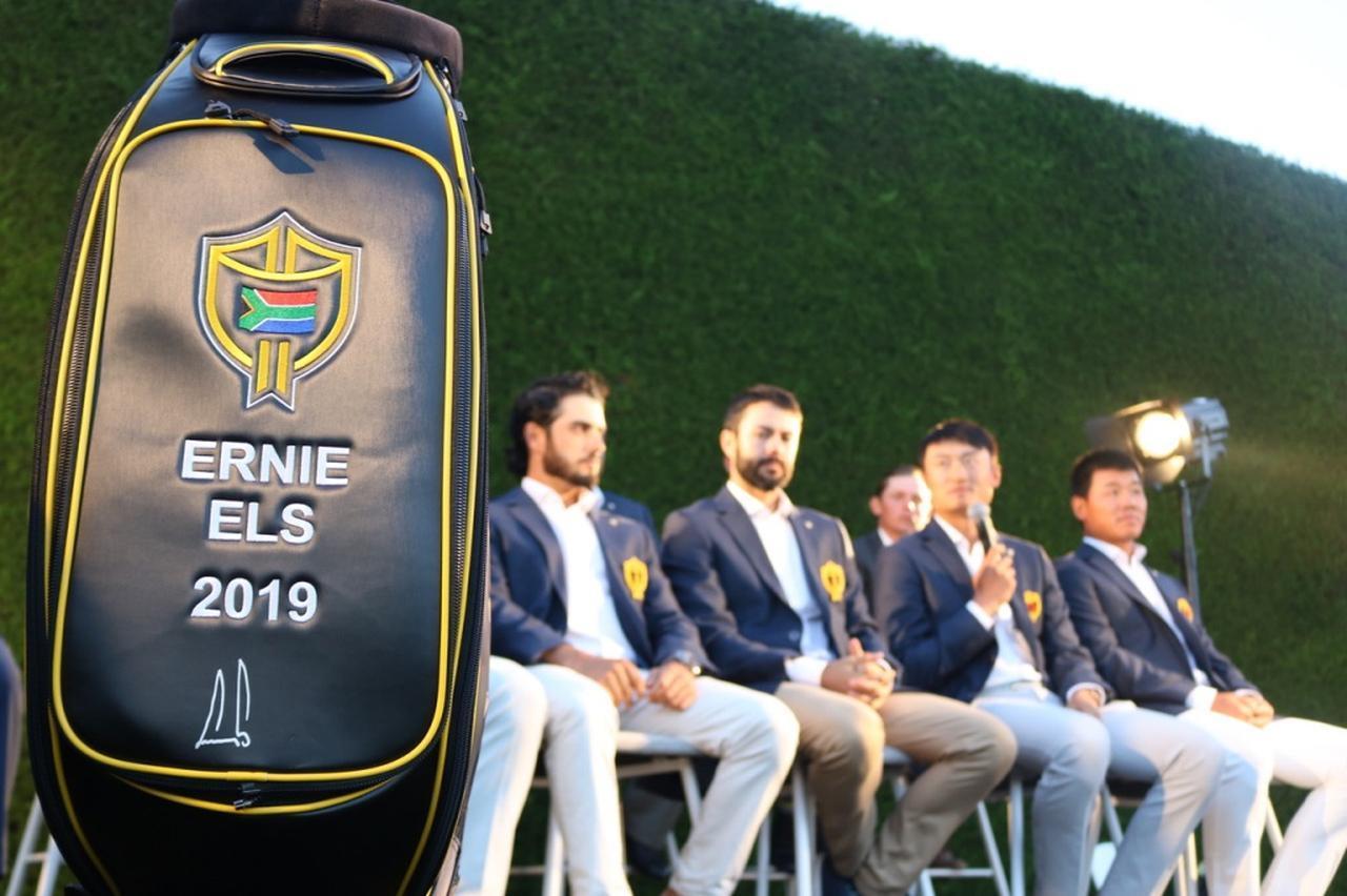 画像: インターナショナルチームのロゴが刻まれたキャディバッグ。出場選手の自国のロゴが入ることで、選手の意識も高まりそう