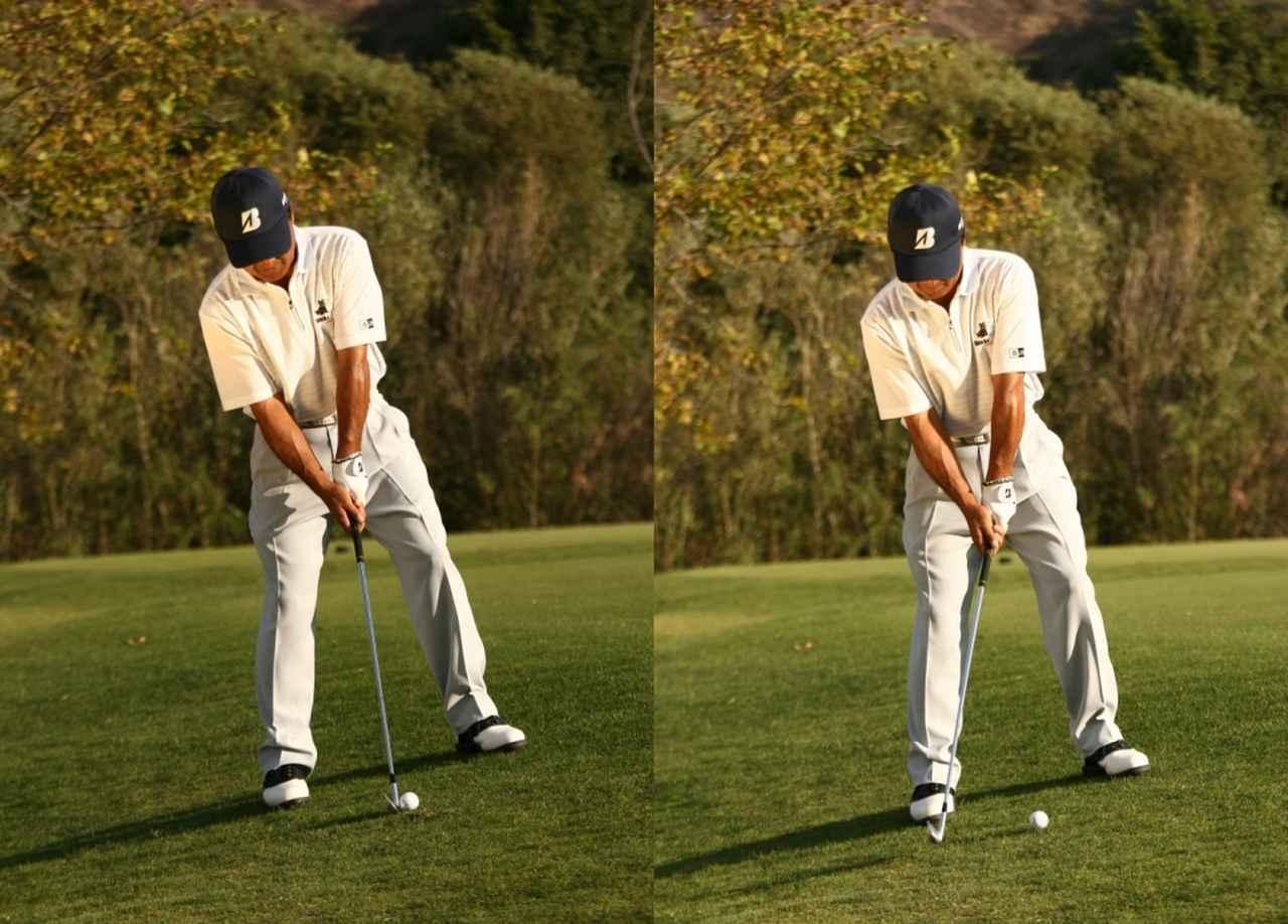 画像: 左足上がりのときは斜面に対し垂直に立つ(左)、斜面に逆らって鉛直に立つ(右)と、ふたつの考え方がある