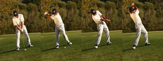 画像: 斜面に対して垂直に立った場合、斜面に沿って振っていくことになる