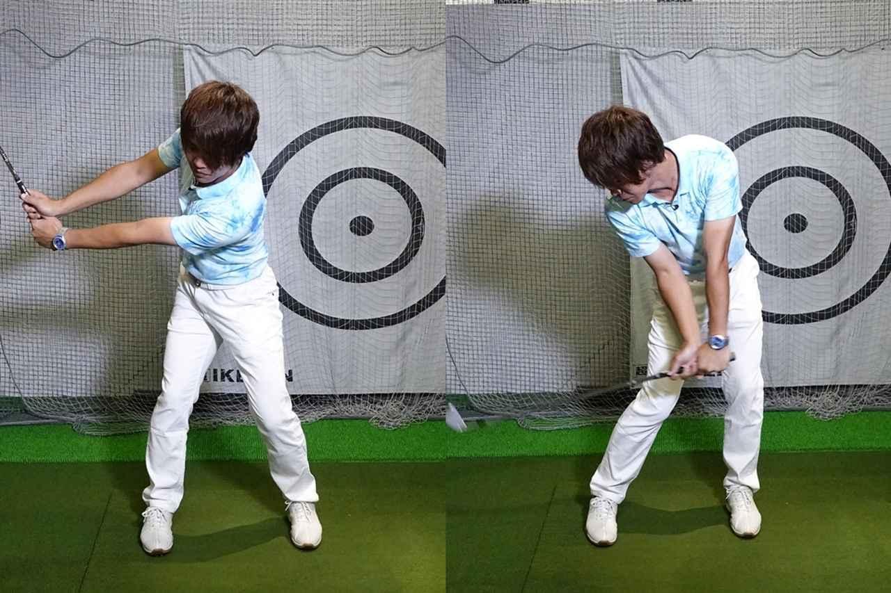 画像: バックスウィングで左肩が下がり、ダウンスウィングで右肩が下がる。これが縦回転スウィングだ