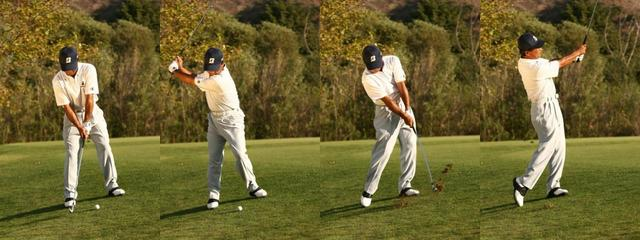 画像: 傾斜に対して鉛直に立った場合。フォローを抑えてコンパクトにヒット