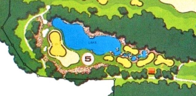 画像: (画像2)カレドニアンGCの公式サイトに掲載されたホール図。グリーンがやや斜めに配置されているのがわかる