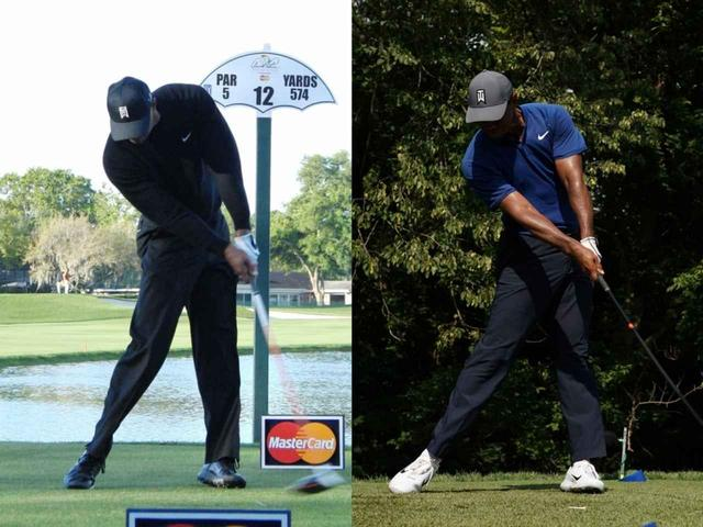画像: 2013年のアーノルド・パーマーインビテーショナル(左)に比べて2018年の全米プロゴルフ選手権(右)は右足を蹴るような動きがみえる