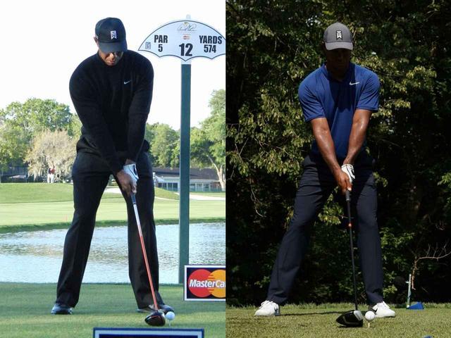 画像: 2018年の全米プロゴルフ選手権(右)と2013年のアーノルド・パーマーインビテーショナル(左)のアドレスを比べるとワイドスタンスになっているのがよくわかる