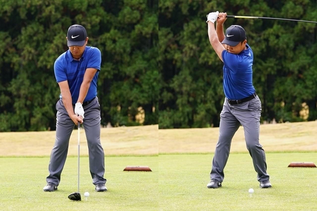 画像: 再現度の高いスウィングをするには肩を水平に入れず、縦に回すことを意識するといい(写真は2018年のVISA太平洋マスターズ)