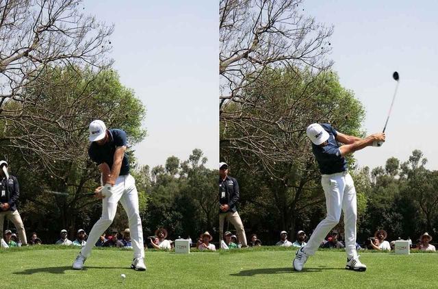 画像: ダスティン・ジョンソンは、タメが強く(写真左)、たたみも速い(写真右)タイプの代表的なプレーヤーだ(撮影/姉崎正)