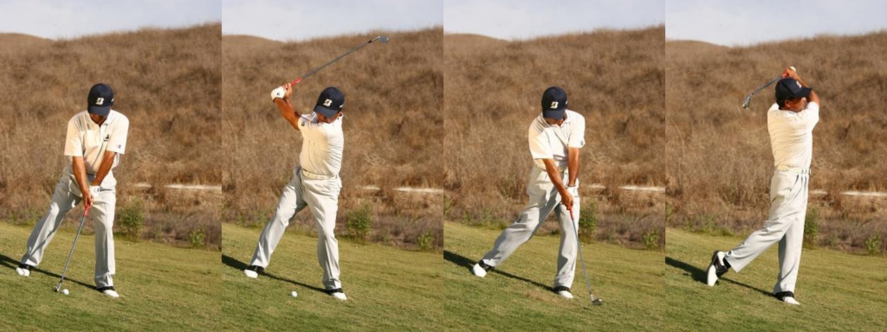 画像: 斜面に垂直に立った場合、ボール位置はスタンスの真ん中。軸の傾きを変えないように、 コンパクトに打っていく