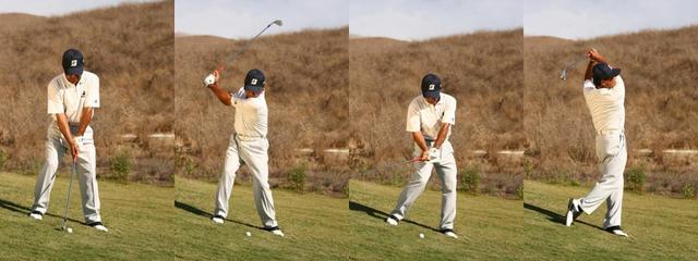 画像: 鉛直に立った場合、ボール位置は体の縞の真下。目標の左を向いて、スライスで攻めていく