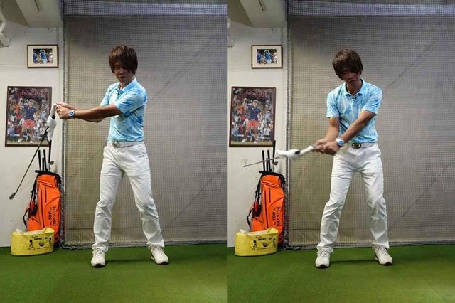 画像: 手の動きとクラブに時間差を作れば、テークバックでクラブは勝手に閉じ(写真左)、ダウンスウィングで勝手に開く(写真右)
