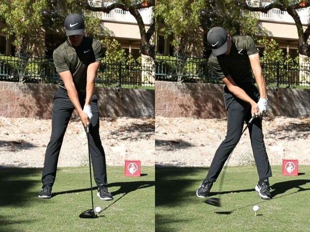 画像: インパクトの時に腰が完全に開いて、下半身リードになっているのがわかる(撮影/田辺安啓)