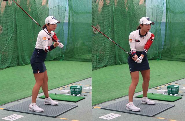 画像: スライスを直すには、ダウンでクラブを前に下ろさずに(写真左)、下に下ろしましょう(写真右)と実践しながら教えてくれたイ・ボミ