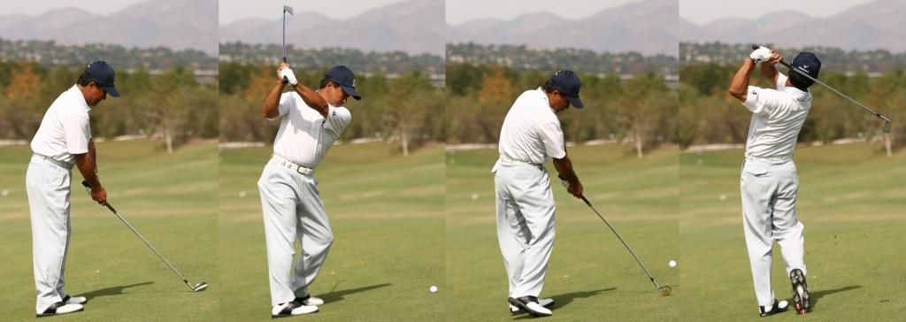 画像: つま先上がりの場合、傾斜が強いほど前傾が浅くなり、スウィングはフラットになる