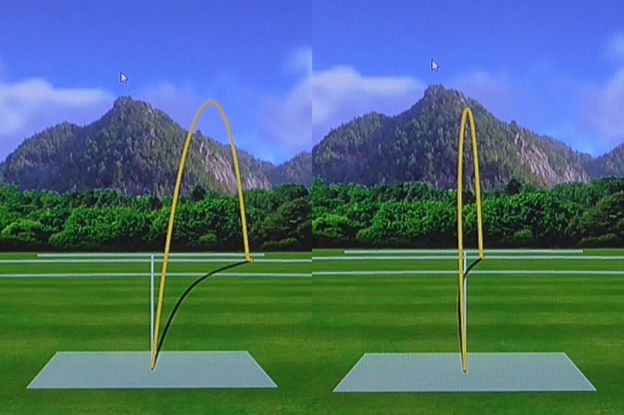 画像: 画像6。スライサーをイメージして打った中村の弾道。写真左のグローレF2では大きくスライスしているが、写真右のMグローレは曲がり幅がかなり抑えめになっている
