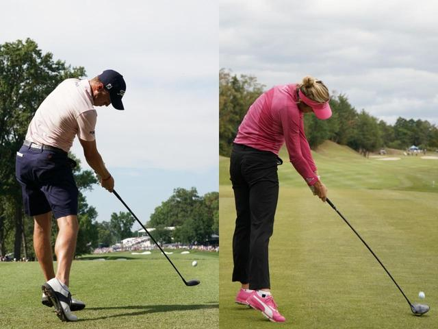 画像: ジャスティン・トーマス(左)とレクシー・トンプソン(右)は反力を使って振るため、インパクトで右足が浮いている