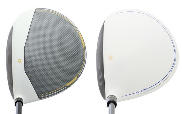画像: Mグローレ(写真左)はカーボンコンポジットクラウンを採用。白が目を引くグローレF2(写真左)に対しクラウンを軽量化したことで、余剰重量を獲得している