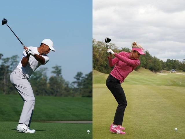 画像: 捻転差が強い代表的なプレーヤーのタイガー・ウッズ(左)とレクシー・トンプソン(左)は両ひざがそろったときに腕がまだトップ近くに残っている