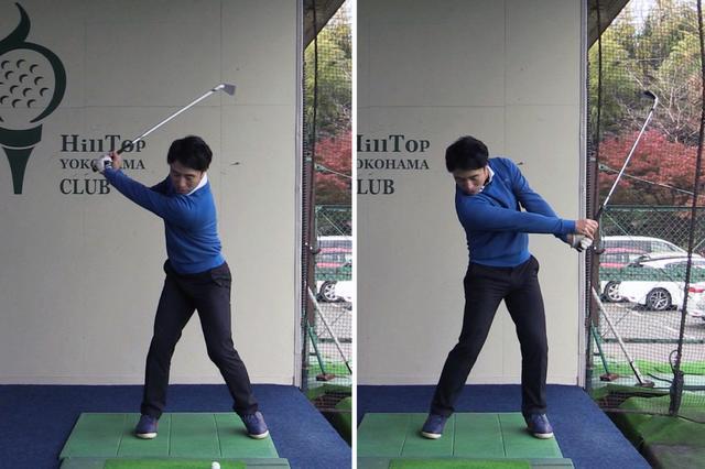 画像: インパクトの瞬間に腕の振りにブレーキをかけ、フォローで体の動きを一旦止めてみよう