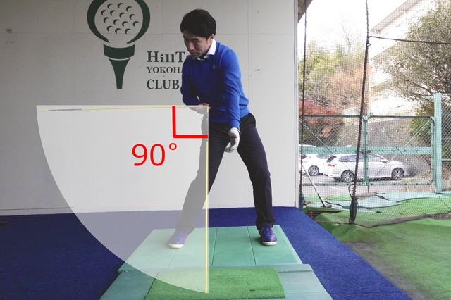 画像: 腕の振り幅を、地面と水平の位置からインパクトまでの90度だとイメージすることが、ピタッと止まるフィニッシュへの近道